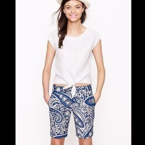 🆕JCrew Navy and Cream Paisley Shorts